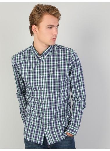 Colin's Colin'S Shirt Neck Uzun Kol Dar Kesim Çok Renkli Gömlek Yeşil